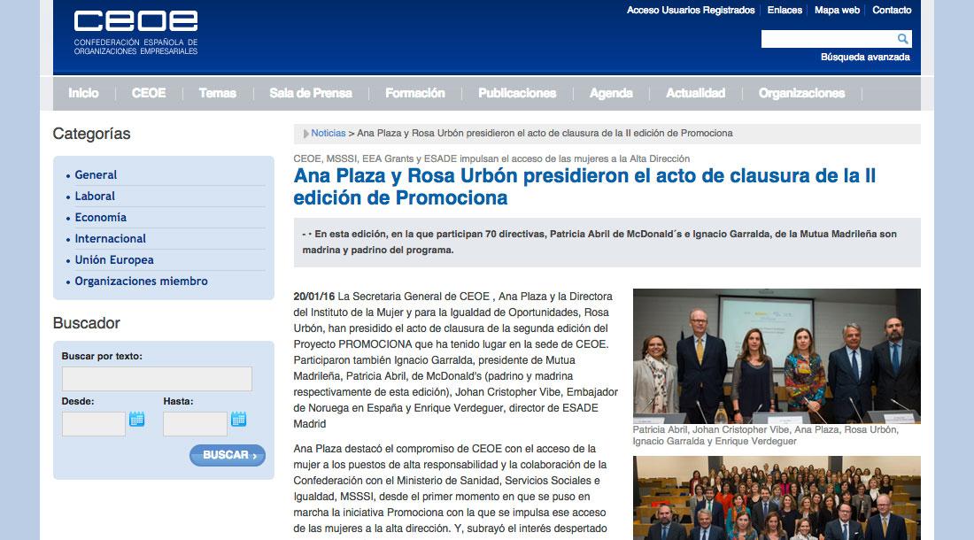 Acto de Clausura de la 2ª edición Proyecto Promociona - CEOE Web